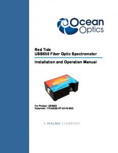 Red Tide USB650 Fiber Optic Spectrometer Installation and Operation Manual