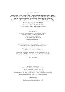 Redaktor Naczelny: Stanis aw Biele Sekretarz Redakcji: Jacek Kosiarski Recenzent: Prof. dr hab. Boles aw Balcerowicz