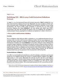 Redefining CDS ISDA s 2014 Credit Derivatives Definitions Protocol