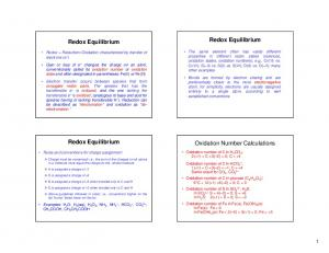 Redox Equilibrium. Redox Equilibrium. Redox Equilibrium. Oxidation Number Calculations