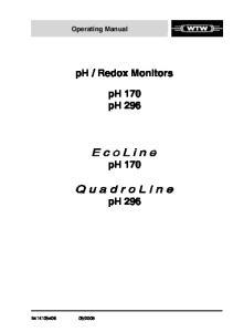 Redox Monitors ph 170 ph 296 ph 170 ph 296