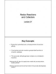 Redox Reactions and Cofactors