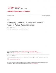 Redressing Colonial Genocide: The Hereros' Cause of Action Against Germany