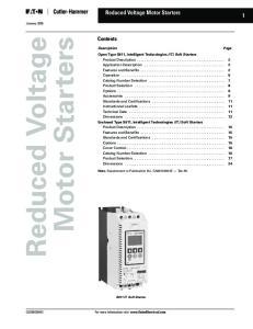 Reduced Voltage Motor Starters