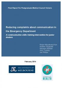 Reducing complaints about communication in the Emergency Department