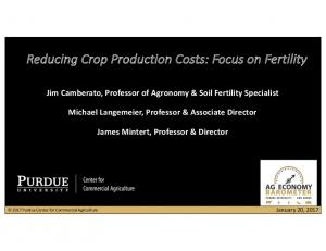 Reducing Crop Production Costs: Focus on Fertility