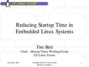 Reducing Startup Time in Embedded Linux Systems