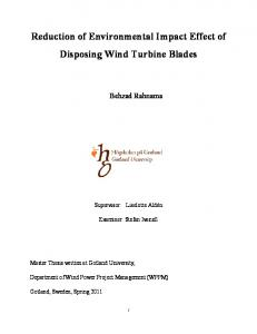 Reduction of Environmental Impact Effect of Disposing Wind Turbine Blades