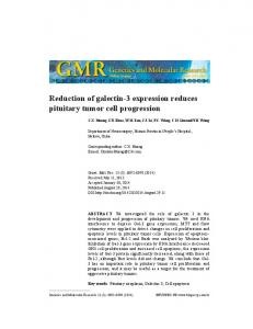 Reduction of galectin-3 expression reduces pituitary tumor cell progression
