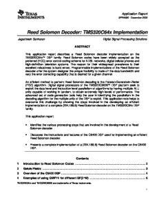 Reed Solomon Decoder: TMS320C64x Implementation