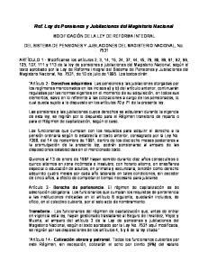 Ref. Ley de Pensiones y Jubilaciones del Magisterio Nacional