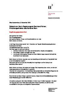 Referat von Herrn Regierungsrat Bernhard Pulver, Erziehungsdirektor des Kantons Bern