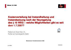 Referat von Oliver Elzer, Dr., Richter am Kammergericht, Berlin