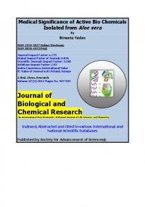 Refereed Journal of Life Sciences and Chemistry