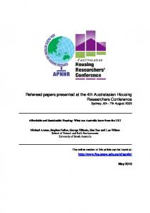 Refereed papers presented at the 4th Australasian Housing Researchers Conference Sydney, 5th - 7th August 2009