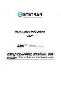 REFERENCE DOCUMENT 2009