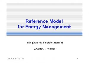 Reference Model for Energy Management