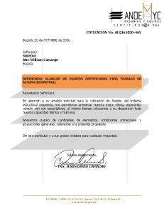 REFERENCIA: ALQUILER DE EQUIPOS CERTIFICADOS PARA TRABAJO EN ALTURA (ECOPETROL)