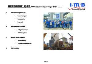 REFERENZLISTE IMB Industriemontagen Berger GmbH, Rev