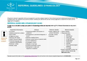 REFERRAL GUIDELINES: GYNAECOLOGY