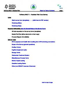 Refinery MACT I Residual Risk Data Survey