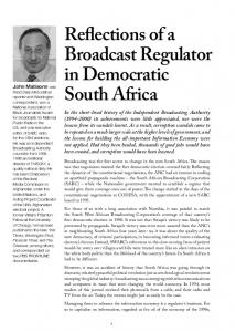 Reflections of a Broadcast Regulator in Democratic South Africa