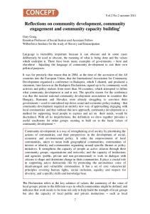 Reflections on community development, community engagement and community capacity building i