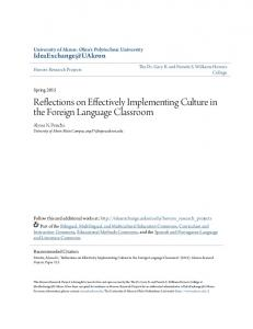 Reflections on Effectively Implementing Culture in the Foreign Language Classroom