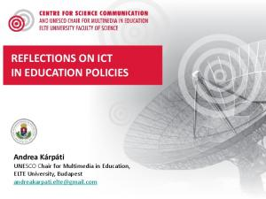 REFLECTIONS ON ICT IN EDUCATION POLICIES