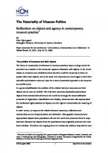Reflections on objects and agency in contemporary museum practice 1