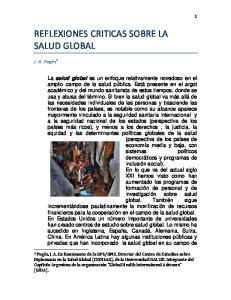 REFLEXIONES CRITICAS SOBRE LA SALUD GLOBAL