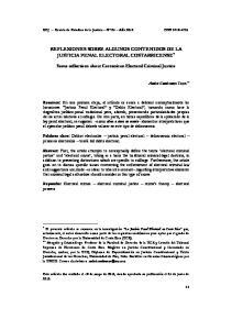 REFLEXIONES SOBRE ALGUNOS CONTENIDOS DE LA JUSTICIA PENAL ELECTORAL COSTARRICENSE