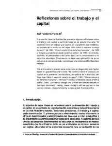 Reflexiones sobre el trabajo y el capital