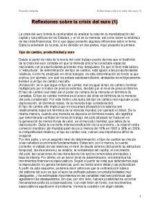 Reflexiones sobre la crisis del euro (1)