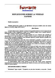 REFLEXIONES SOBRE LA VERDAD GANDHI
