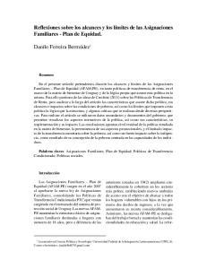 Reflexiones sobre los alcances y los límites de las Asignaciones Familiares - Plan de Equidad