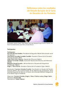 Reflexiones sobre los resultados del Estudio Europeo de la Carta de Derechos de los Pacientes