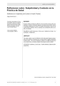 Reflexiones sobre Subjetividad y Contexto en la Práctica de Salud