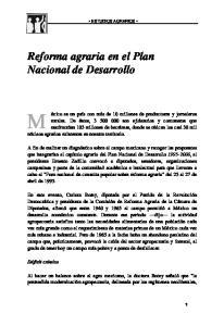 Reforma agraria en el Plan Nacional de Desarrollo