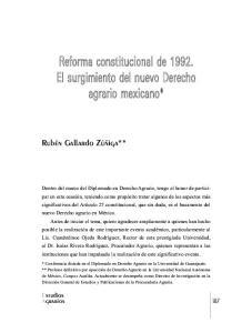 Reforma constitucional de El surgimiento del nuevo Derecho agrario mexicano*
