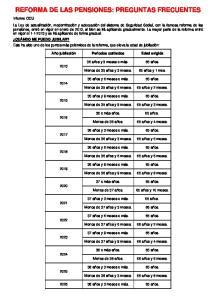 REFORMA DE LAS PENSIONES: PREGUNTAS FRECUENTES