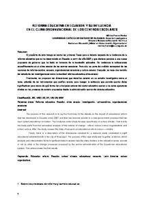 REFORMA EDUCATIVA EN ECUADOR Y SU INFLUENCIA EN EL CLIMA ORGANIZACIONAL DE LOS CENTROS ESCOLARES