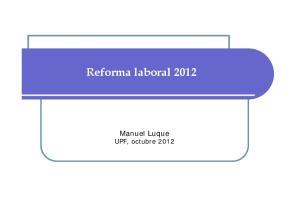Reforma laboral Manuel Luque UPF, octubre 2012