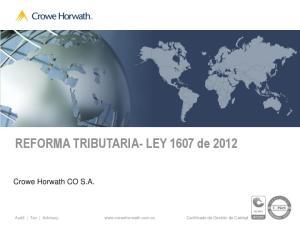 REFORMA TRIBUTARIA- LEY 1607 de 2012