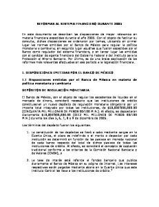 REFORMAS AL SISTEMA FINANCIERO DURANTE 2005