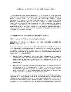 REFORMAS AL SISTEMA FINANCIERO DURANTE 2009