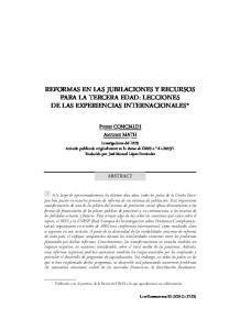 REFORMAS EN LAS JUBILACIONES Y RECURSOS PARA LA TERCERA EDAD: LECCIONES DE LAS EXPERIENCIAS INTERNACIONALES*