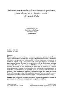 Reformas estructurales y Re-reformas de pensiones, y sus efectos en el bienestar social: el caso de Chile