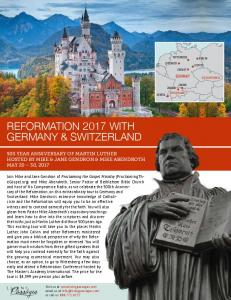 Reformation 2017 with Germany & Switzerland