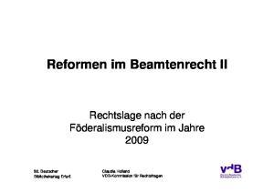 Reformen im Beamtenrecht II